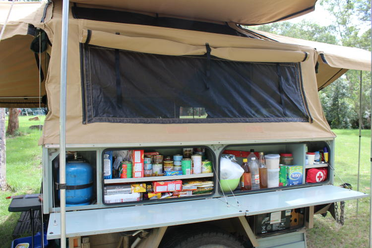 Creative Camper Kitchen Food Use Of Plastic Boxes For Storage And A Pull Our